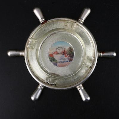 Coney Island Ship Steering Wheel Glass and Plastic Ashtray