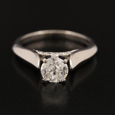 Palladium 0.94 CTW Diamond Ring with Diamond Accented Profiles