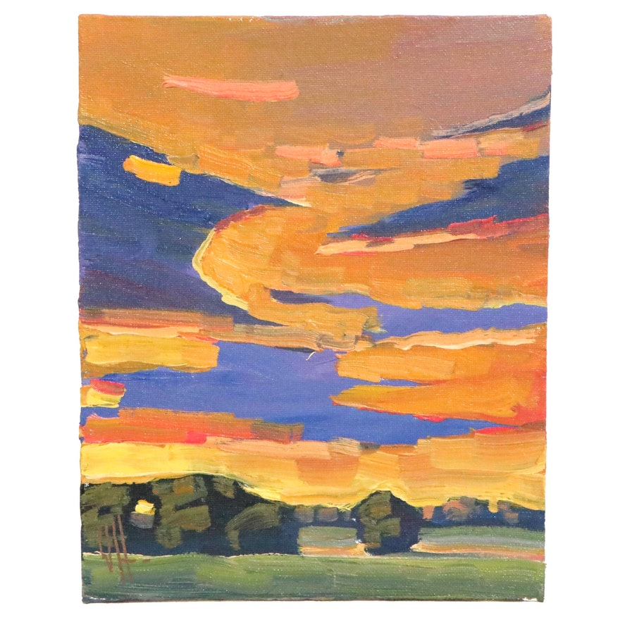 William Hawkins Landscape Oil Painting of Sunset, 21st Century