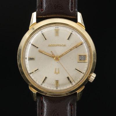 1969 Bulova Accutron Calendar 14K Gold Tuning Fork Wristwatch