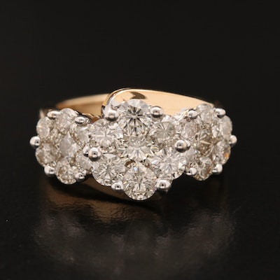14K 3.02 CTW Diamond Cluster Ring