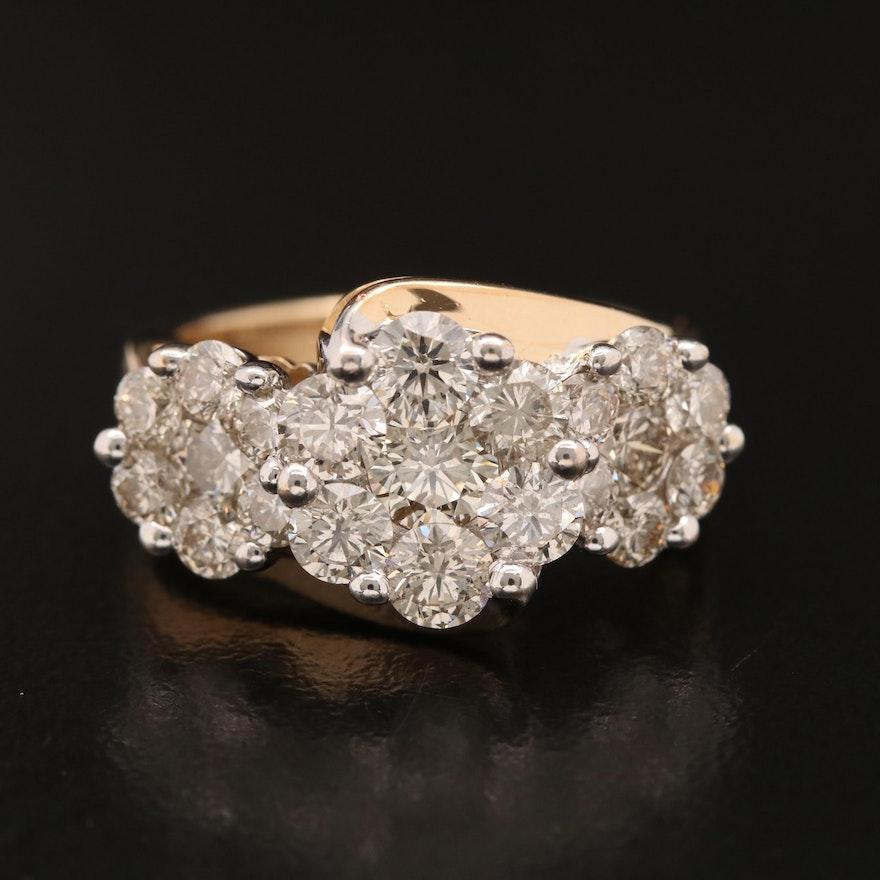 14K 3.02 CTW Diamond Cluster Ring
