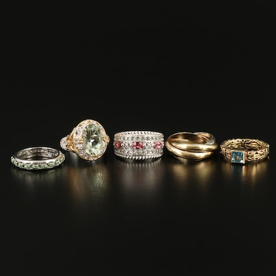 Selection of Sterling Rings Including Byzantine and Rolling Rings