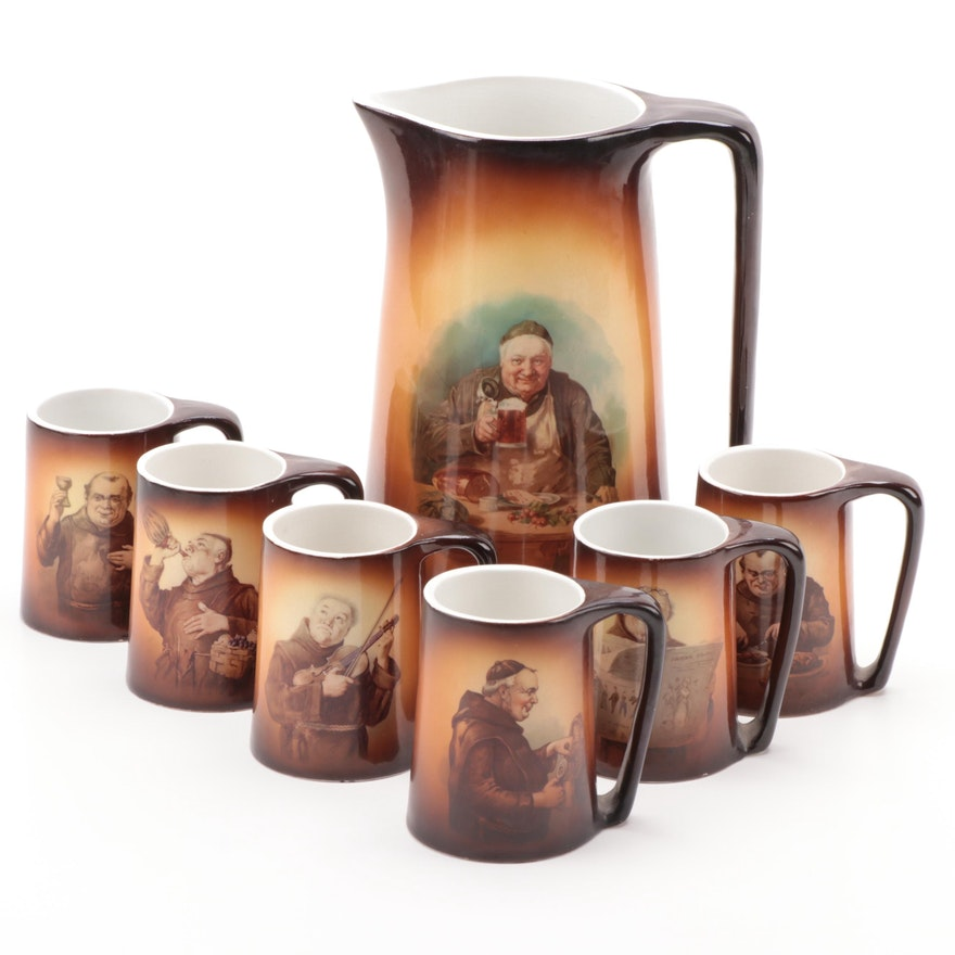 Warwick Loga Line Monk Pitcher and Tankards, Early to Mid 20th Century