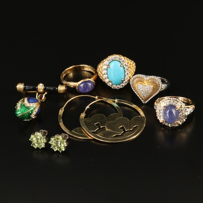 Selection of Sterling Jewelry Including Heart Ring and Flower Stud Earrings