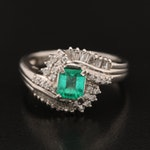 Platinum Emerald and Diamond Bypass Ring
