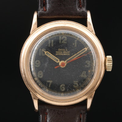 Vintage Doxa Anti Magnetic 14K Gold Stem Wind Wristwatch