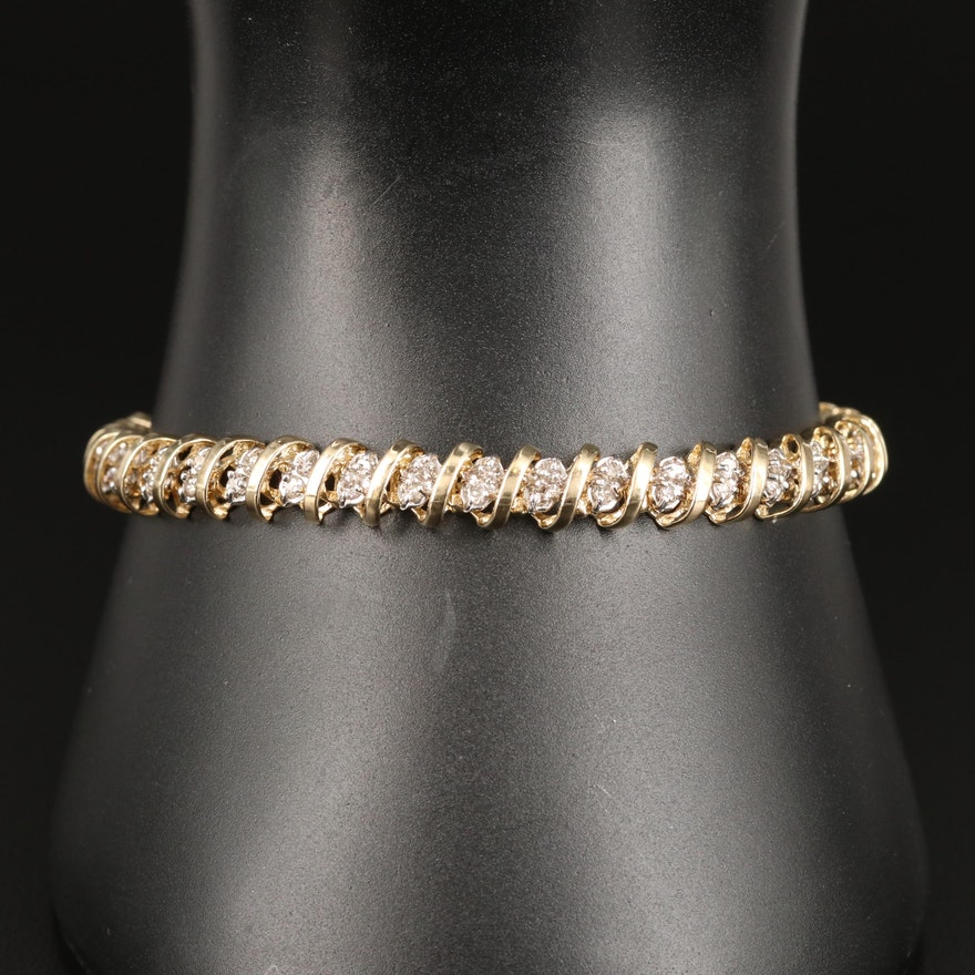 10K 1.90 CT Diamond Line Bracelet