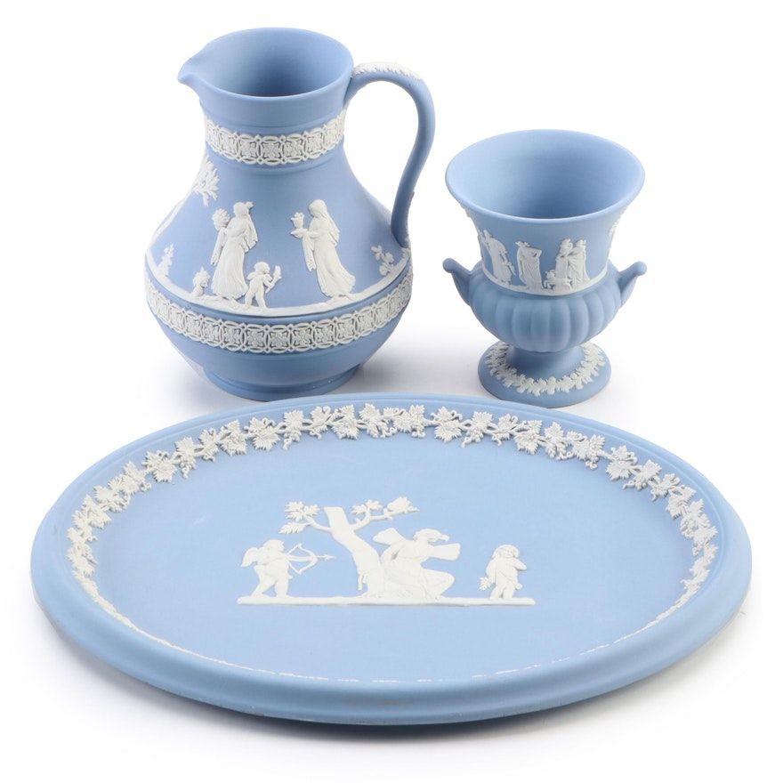 Wedgwood Blue Jasperware Oval Platter with Small Vase and Pitcher