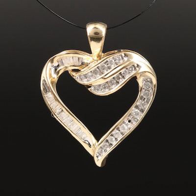 10K Diamond Open Heart Pendanrt
