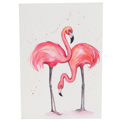Anne Gorywine Watercolor Painting of Flamingos, 2020
