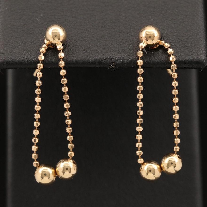 14K Bead Chain Hoop Earrings