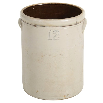 Salt Glazed 12 Gallon Stoneware Crock, Early 20th Century