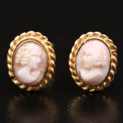 14K Oval Carved Shell Cameo Stud Earrings