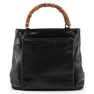 Gucci Bamboo Black Leather Handbag