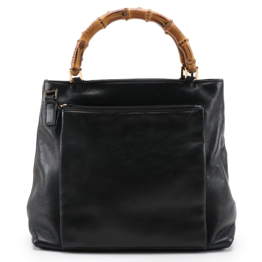 Gucci Bamboo Black Leather Handbag
