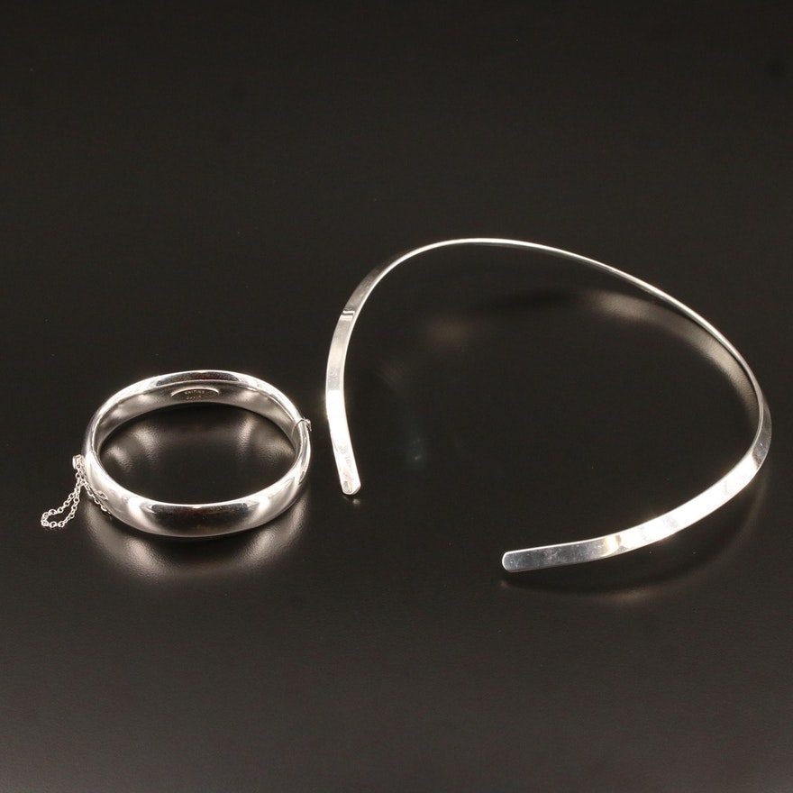 Whiting and Davis Hinged Bangle and Collar Necklace
