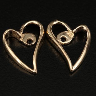 14K Open Heart Earring Enhancers