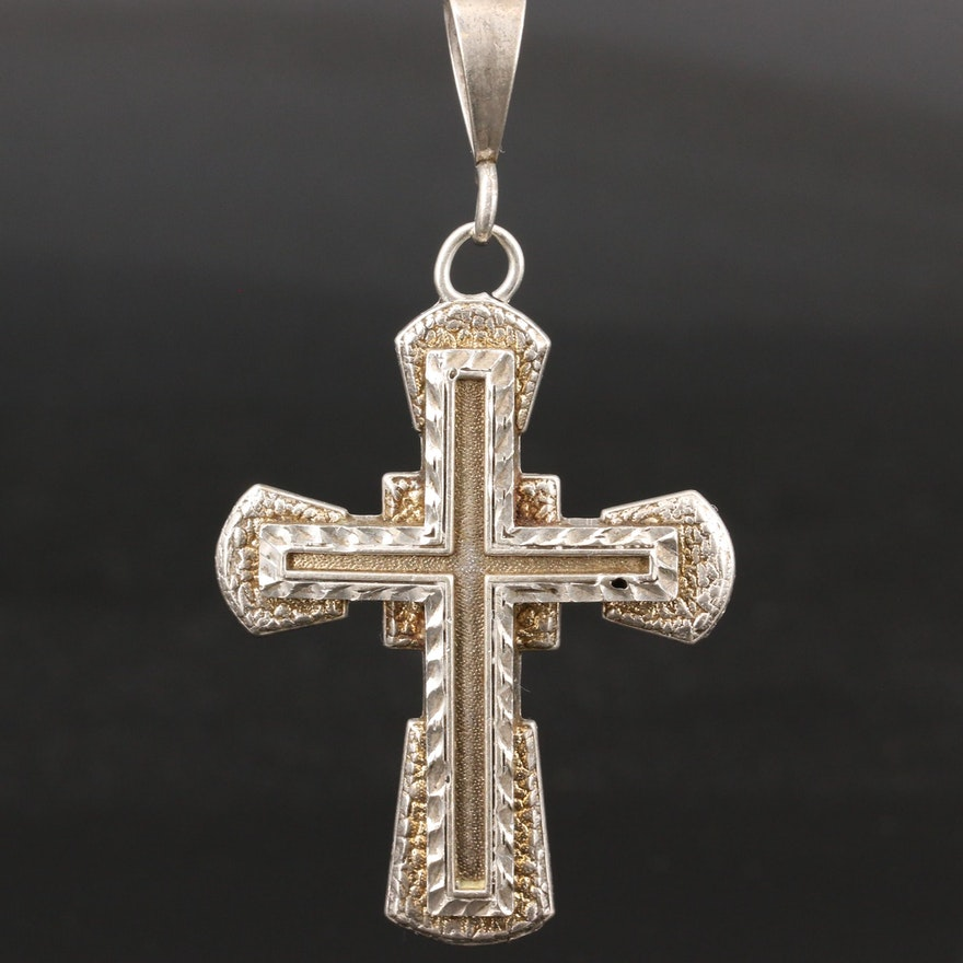 Sterling Silver Diamond Cut Textured Cross Pendant