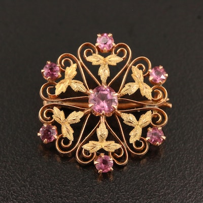 Vintage 10K Green and Rose Gold Glass Brooch