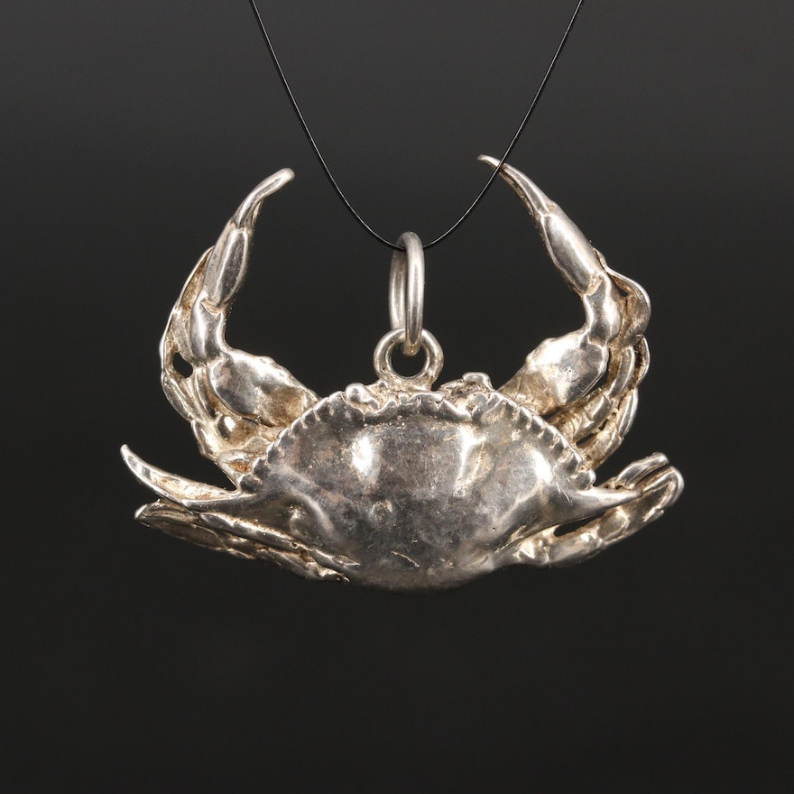 Sterling Silver Crab Pendant