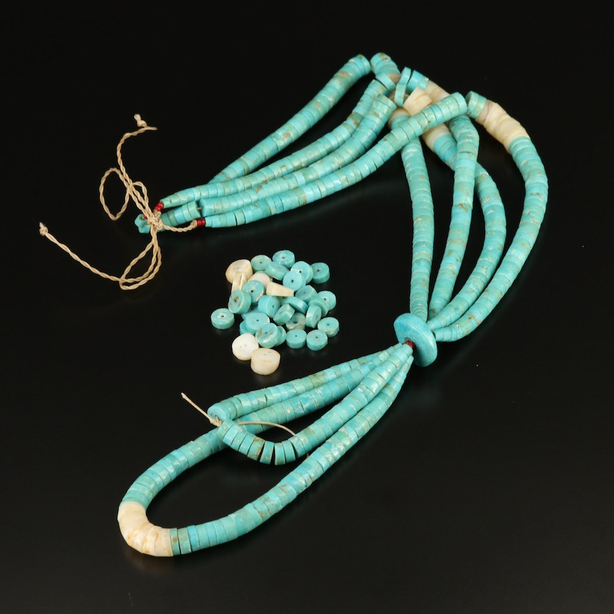 Shell, Turquoise and Glass Multi-Strand Beaded Necklace