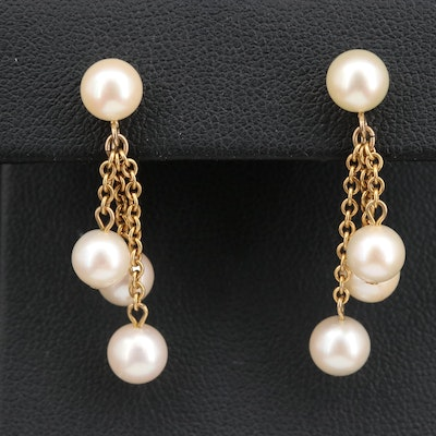 14K Pearl Non-Pierced Dangle Earrings