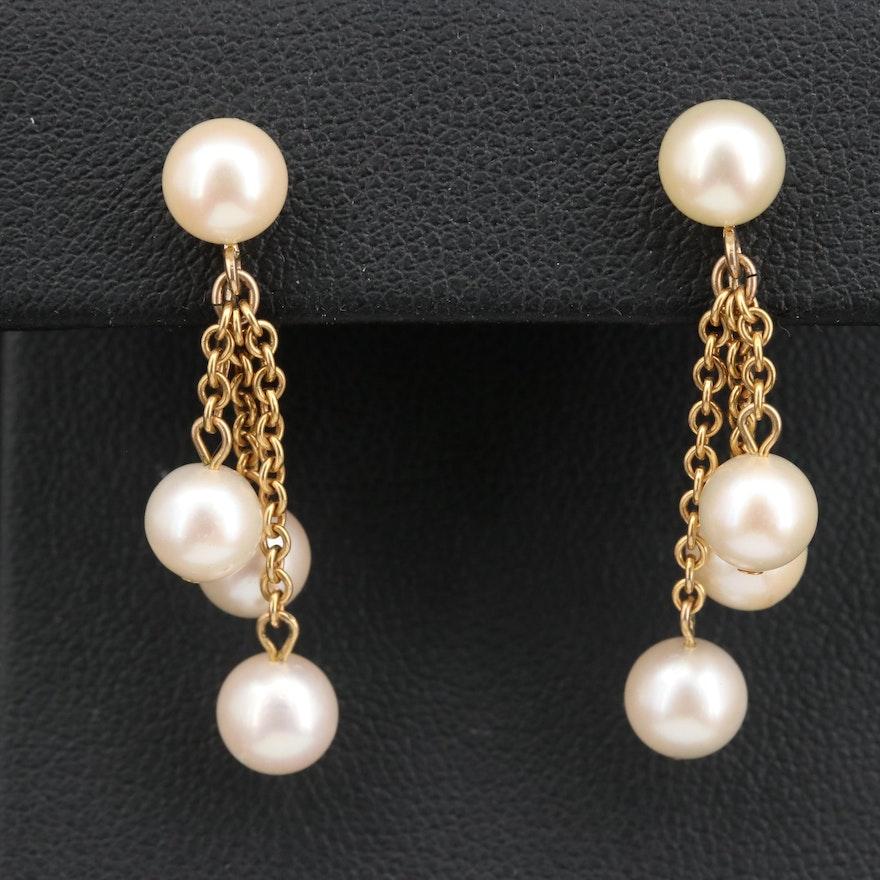 14K Pearl Non-Pierced Dangle Earrings