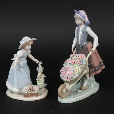 "Lladró ""A Barrel of Blossoms"" and Nadal Porcelain Figurines"