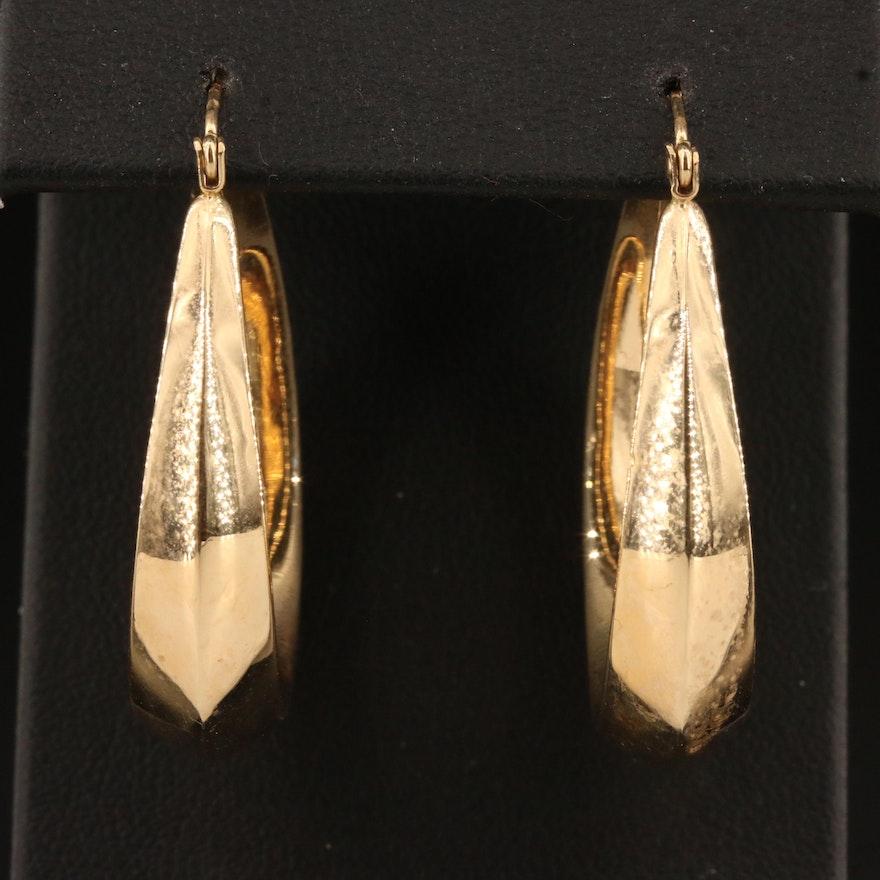 14K Knife Edge Oval Hoop Earrings