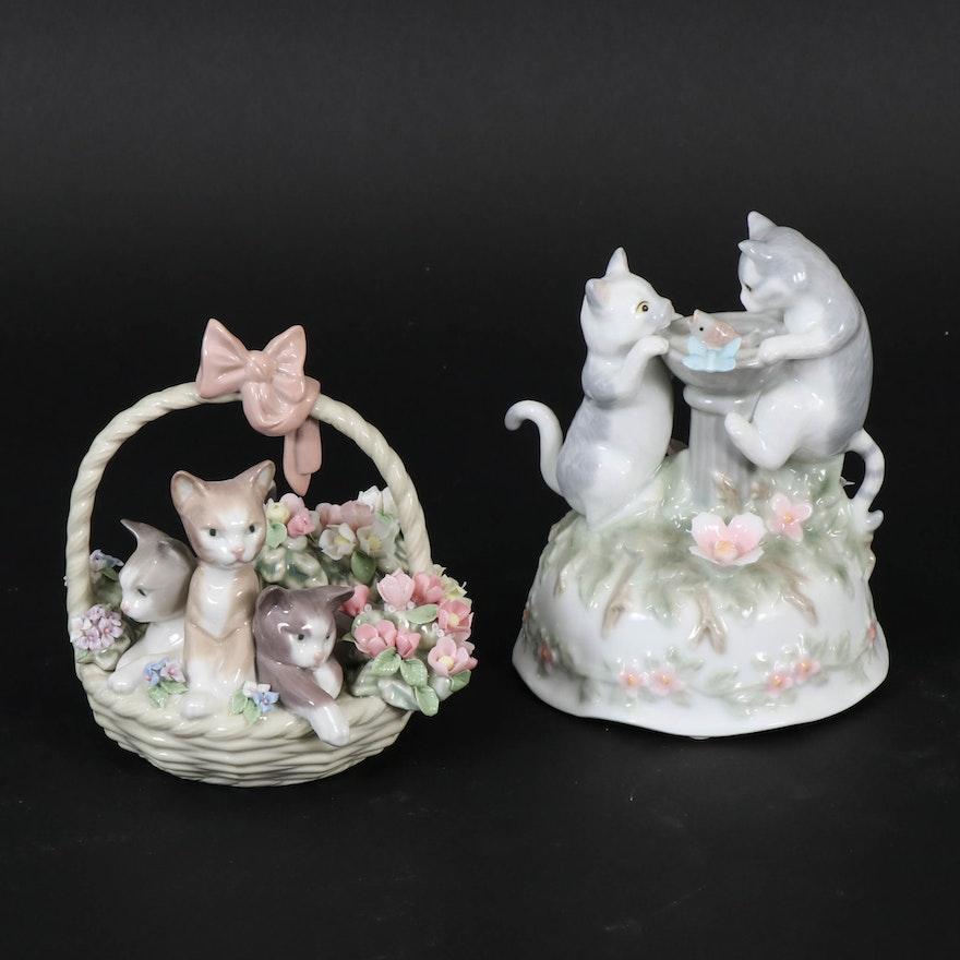 "Lladró ""Purr-fect"" Porcelain Figurine with Seymour Mann Rotating Music Figurine"
