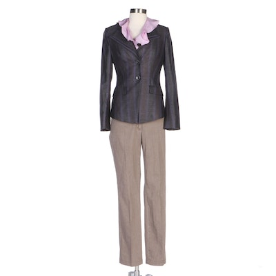 Escada Chevron Striped Jacket, Lilac Silk Flounce Blouse and Taupe Pants