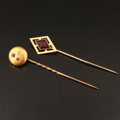 Vintage 10K and 14K Stick Pins with Diamond, Ruby and Garnet