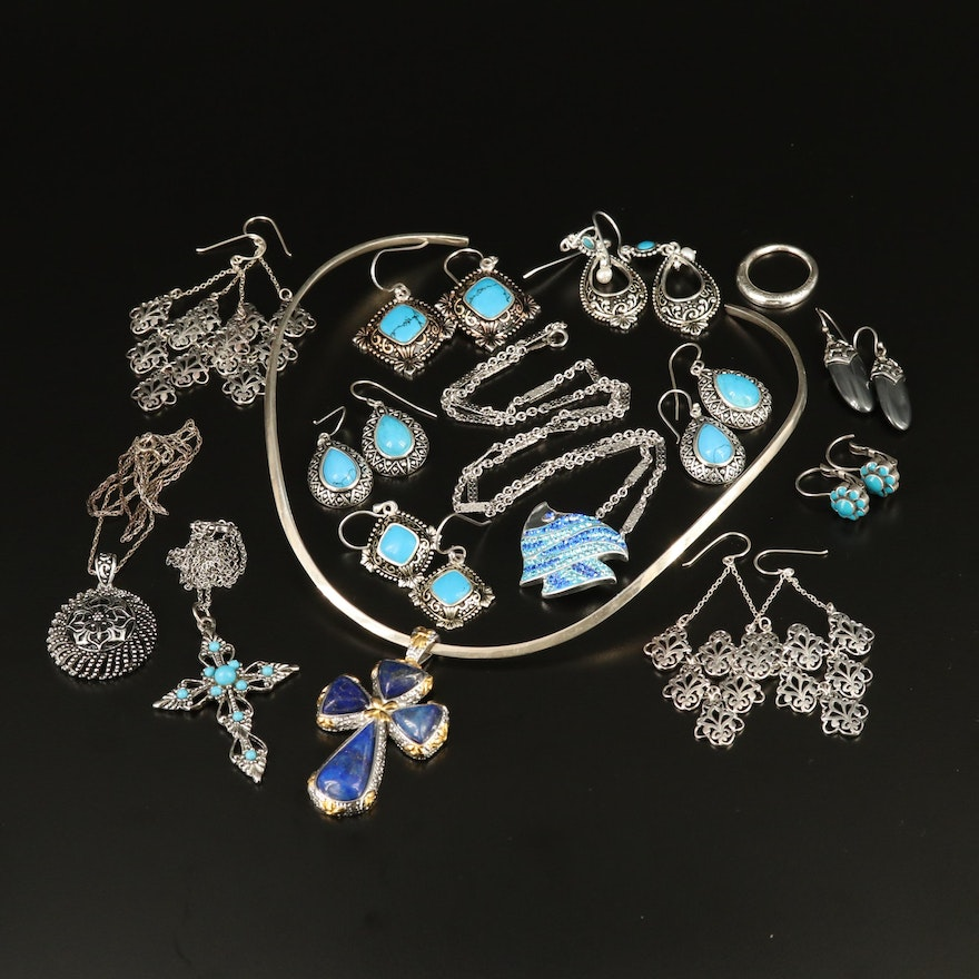 Sterling Silver Jewelry Selection with Lapis Lazuli, Hematite and Pearl