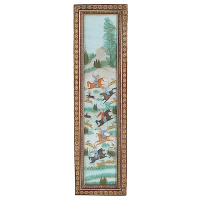 Persian Style Gouache Painting of Hunting Scene, Late 20th Century
