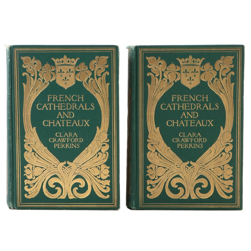 """First Edition """"French Cathedrals and Chateaux"""" Two-Volume Set, 1903"""