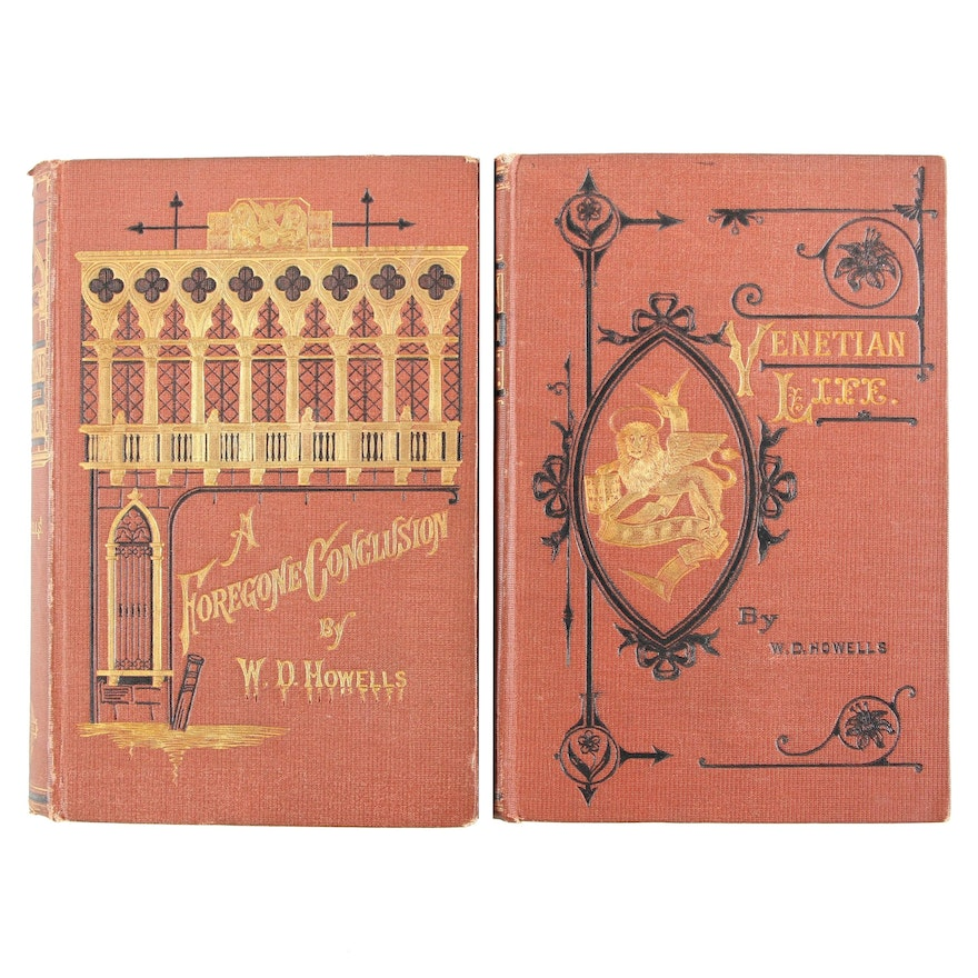 """First Edition """"A Foregone Conclusion"""" with """"Venetian Life"""" by W. Howells, 1870s"""