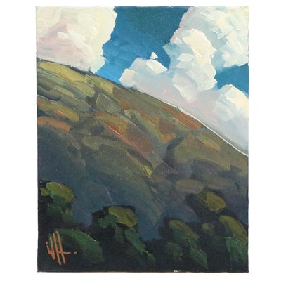 William Hawkins Landscape Oil Painting of Hill, 21st Century