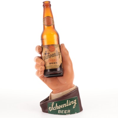 Schoenling Beer Chalkware Hand with Bottle Back Bar Display, 1940s