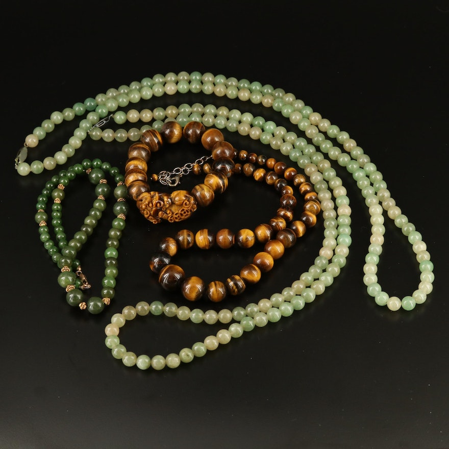 Selection of Beaded Necklaces and Bracelet Including Tiger's Eye and Aventurine