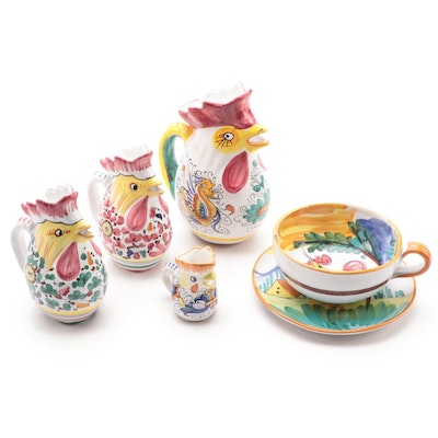 Deruta Italian Pottery Rooster Pitchers and Coffee Cup