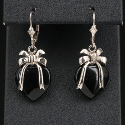 Sterling Silver Black Onyx Heart and Bow Motif Earrings