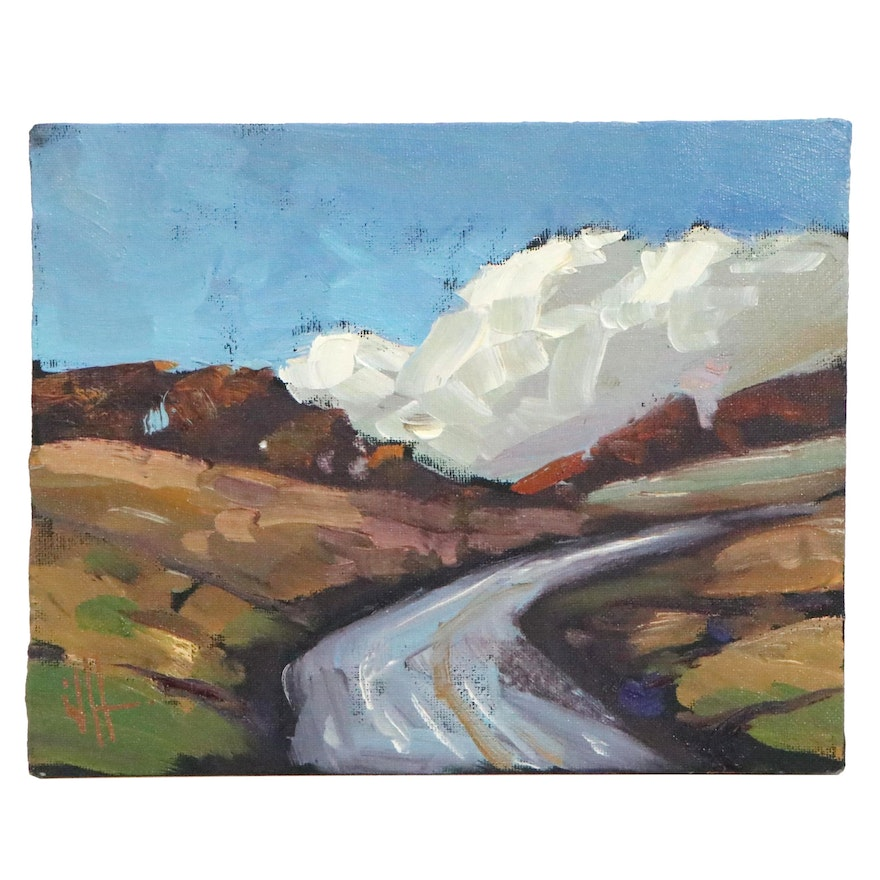 William Hawkins Landscape Oil Painting with Road, 21st Century