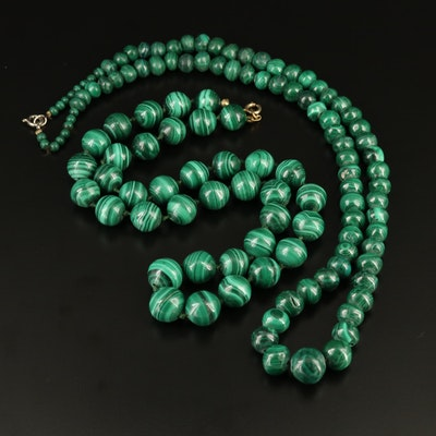 Hand Knotted and Graduated Malachite Bead Necklaces