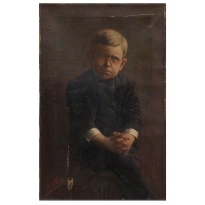 Portrait Oil Painting of Seated Boy with Clasped Hands