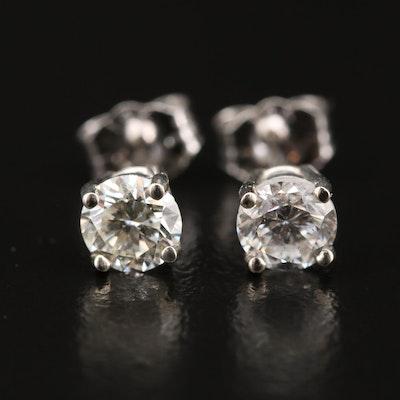 14K 0.77 CTW Diamond Solitaire Stud Earrings
