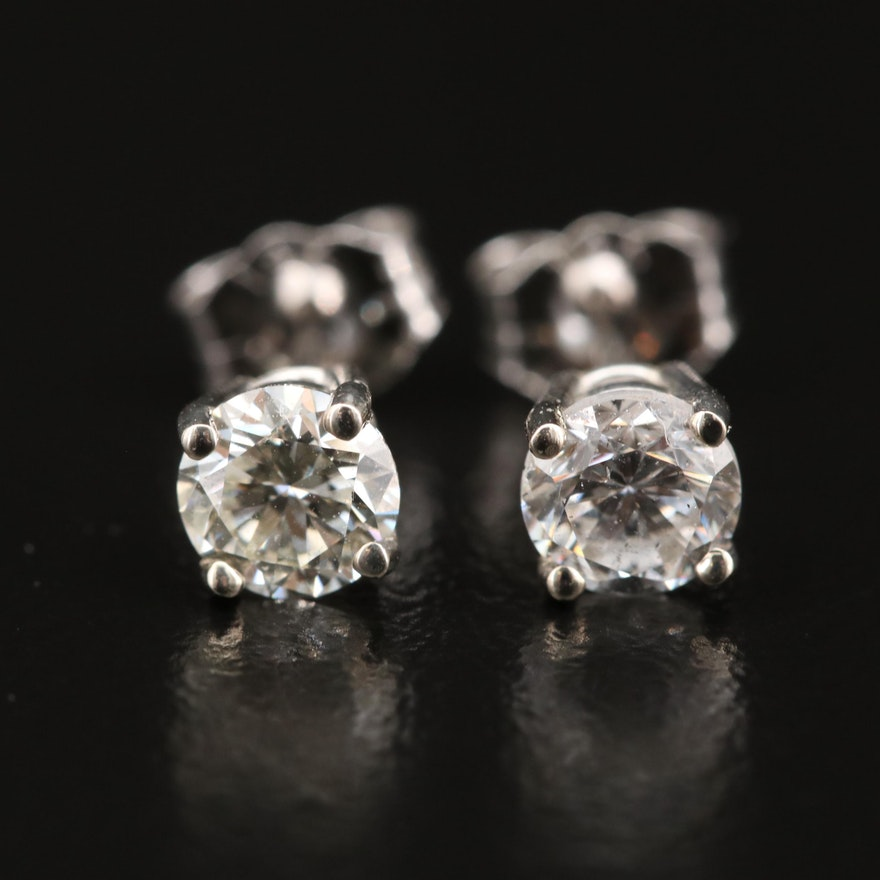 14K 0.77 CTW Diamond Solitaire Stud Earrings