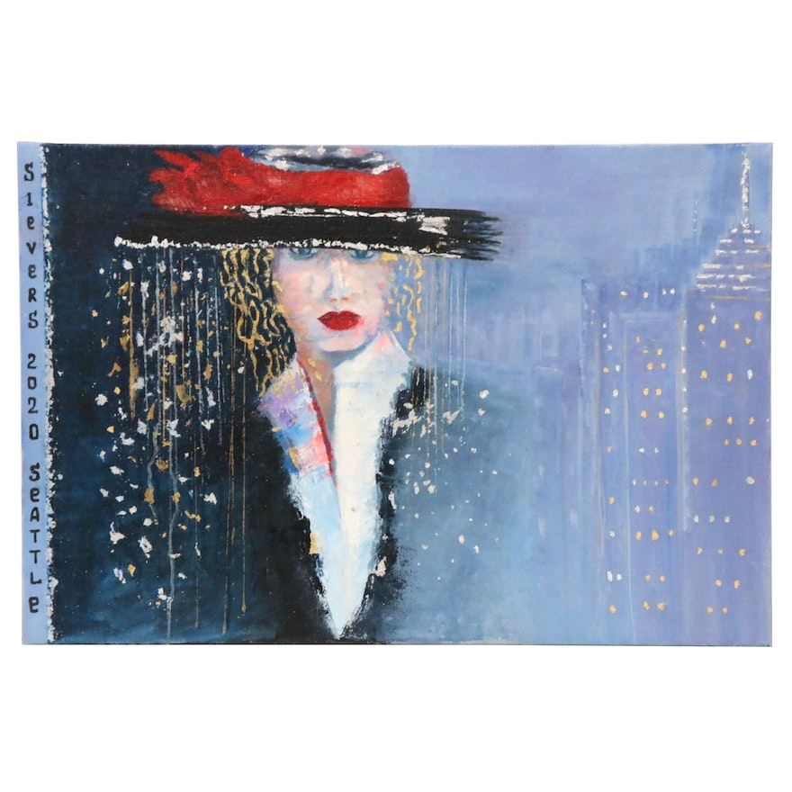 "Larissa Sievers Oil Painting ""Lady in Seattle,"" 2020"