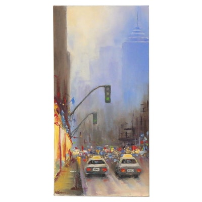 """Valerie Sievers Oil Painting """"Evening City Traffic,"""" 2018"""