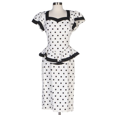 Leslie Lucks Black and White Polka Dotted Cotton Peplum Dress